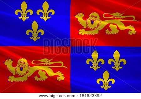 Flag of Landes is a department in southwestern France. 3d illustration poster