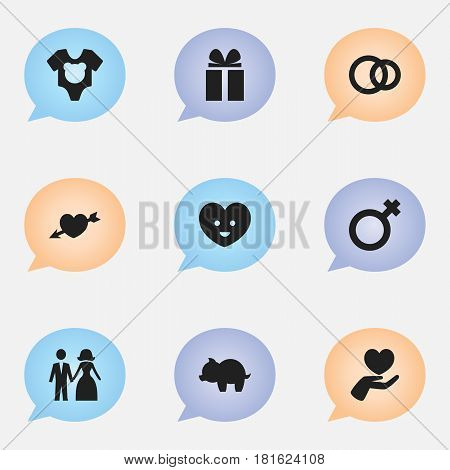 Set Of 9 Editable Kin Icons. Includes Symbols Such As Woman Sign, Moneybox, Love And More. Can Be Used For Web, Mobile, UI And Infographic Design.
