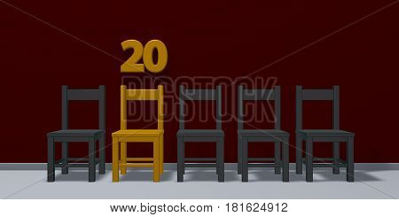 number twenty and row of chairs - 3d rendering