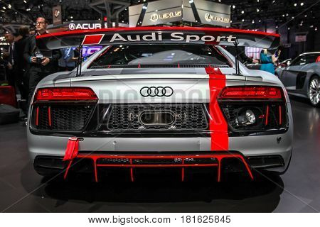 NEW YORK-APRIL 12: Audi R8 LMS shown at the New York International Auto Show 2017, at the Jacob Javits Center. This was Press Preview Day One of NYIAS, on April 12, 2017  in New York City
