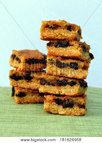 Healthy Snack: Raisin Bar - close-up, side-view of stacked Raisin Squares.