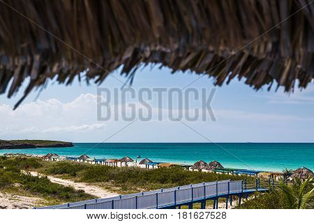 Walk way to Playa Pilar one of the most beautiful beaches on the Caribbean island of Cuba.