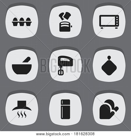 Set Of 9 Editable Meal Icons. Includes Symbols Such As Kitchen Glove, Agitator, Refrigerator And More. Can Be Used For Web, Mobile, UI And Infographic Design.