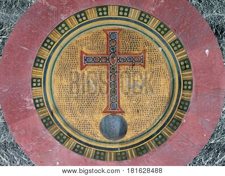 ROME, ITALY - SEPTEMBER 05: Alpha and Omega mosaic, basilica of Saint Paul Outside the Walls, Rome, Italy on September 05, 2016.