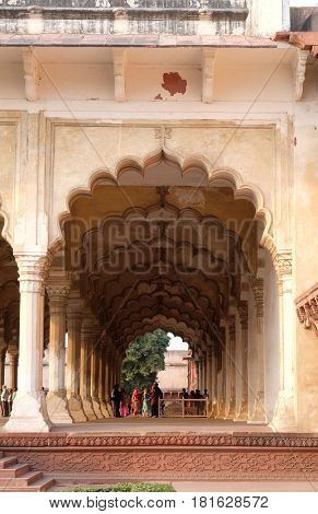 AGRA, INDIA - FEBRUARY 14: Diwan-i-Am, or Hall of Public Audience, at Agra Fort, UNESCO World heritage site in Agra. Uttar Pradesh, India on February 14, 2016.