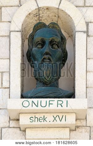 BERAT, ALBANIA - OCTOBER 01, 2016: Memorial of Onufri or Onouphrios of Neokastro Orthodox icon painter and Archpriest of Elbasan in Old town Berat, Albania on October 01, 2016.