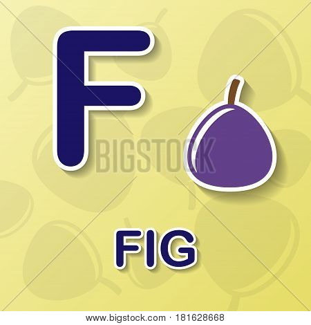 Fig symbol with letter F and word