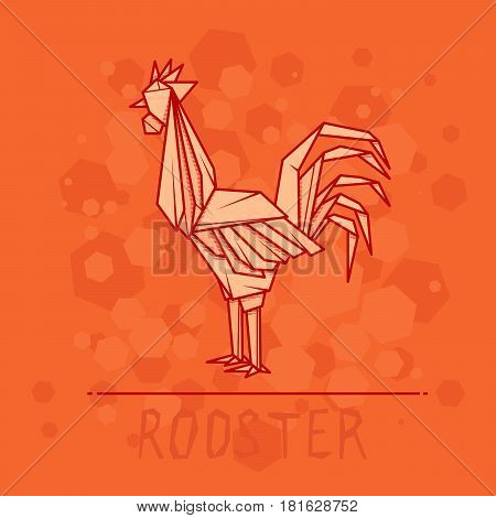 Vector simple illustration paper origami of rooster.