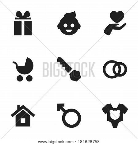 Set Of 9 Editable Kin Icons. Includes Symbols Such As Man Emblem, Hoop, Heart And More. Can Be Used For Web, Mobile, UI And Infographic Design.