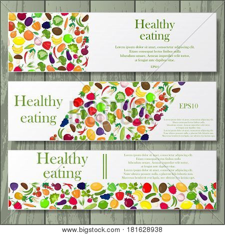 Set of three Healthy lifestyle frames with fruit and vegetables and sample text