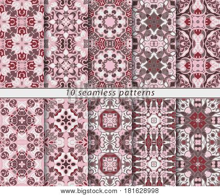Vector set of ten seamless abstract patterns in shades of pink. Decorative and design elements for textile, book covers, manufacturing, wallpapers, print, gift wrap.
