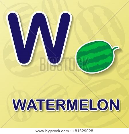 Watermelon symbol with letter W and word
