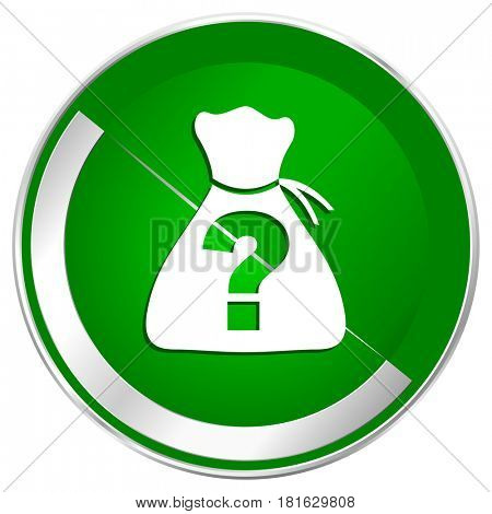 Riddle silver metallic border green web icon for mobile apps and internet.