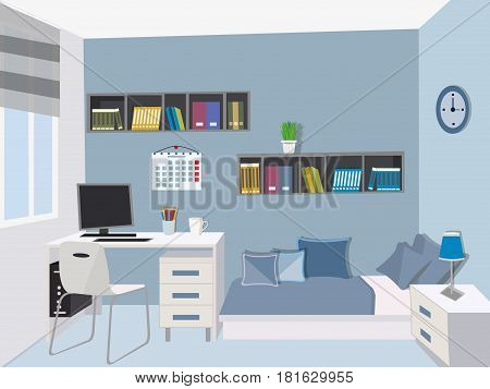 Modern teenage room . Stylish interior with colored furniture - bed, computer desk , computer, bookshelf , nightstand . Flat style vector illustration