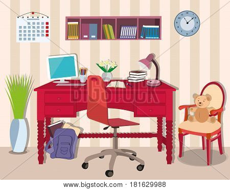 Modern cool  teenager room with workplace table, chair, lamp,schoolbag, computer. Stylish interior with bright furniture . Flat style vector illustration
