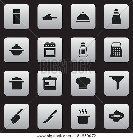 Set Of 16 Editable Cooking Icons. Includes Symbols Such As Refrigerator, Filtering, Sword And More. Can Be Used For Web, Mobile, UI And Infographic Design.