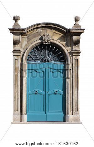 Ancient roman italian blue wood door with marble frame portal isolated on white background