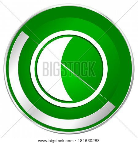 Moon silver metallic border green web icon for mobile apps and internet.