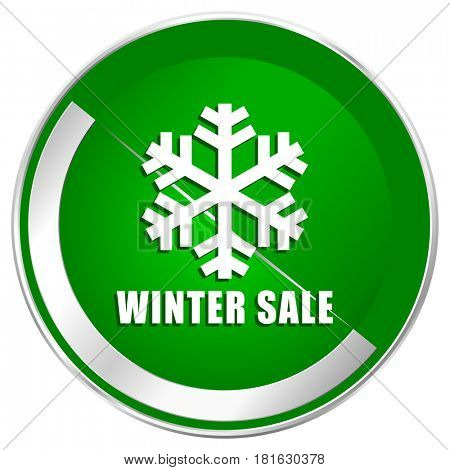 Winter sale silver metallic border green web icon for mobile apps and internet.