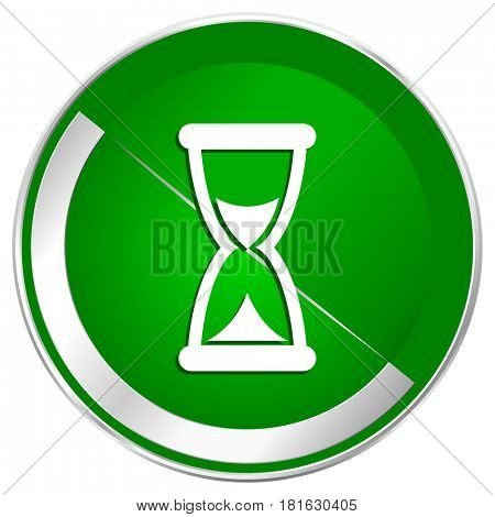 Time silver metallic border green web icon for mobile apps and internet.
