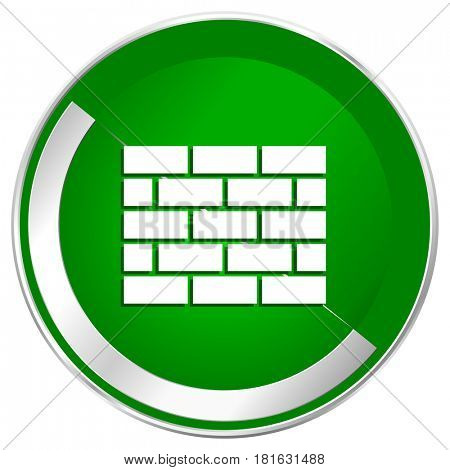 Firewall silver metallic border green web icon for mobile apps and internet.