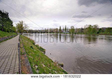 Embankment of the Vltava River in Prague water