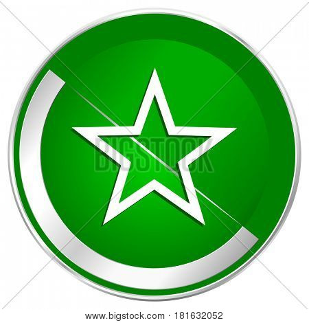 Star silver metallic border green web icon for mobile apps and internet.