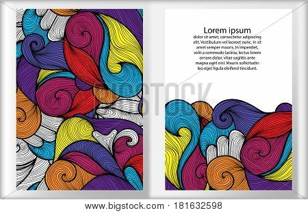 Set of cards vivid background with colorful ornament. Hand draw illustration. Sea waves or clouds motif for banners cards posters invitation designs. Vector template.