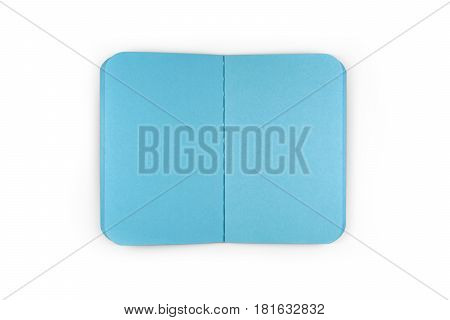 Small Open Notepad WIth Blue Blank Sheets (with clipping path)