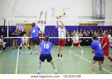 MOSCOW, RUSSIA - FEB 17, 2016: Team are playing at game (Volleyball with generalship shoulder loops) in Central Customs Administration