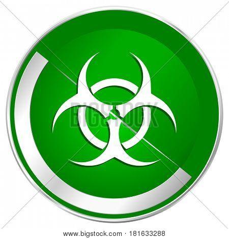Biohazard silver metallic border green web icon for mobile apps and internet.