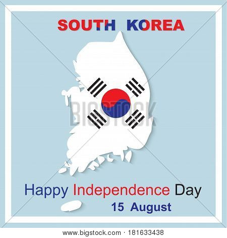 15 August Happy Independence Day. South Korea map vector illustration