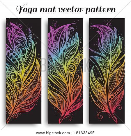 Set of yoga, pilates, meditation mats with hand drawn feather pattern