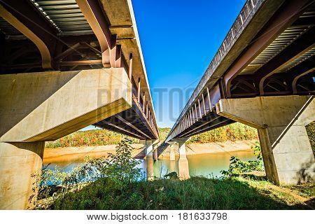 Twin Bridge Crossing Fontana Lake In The Mountains Of North Carolina