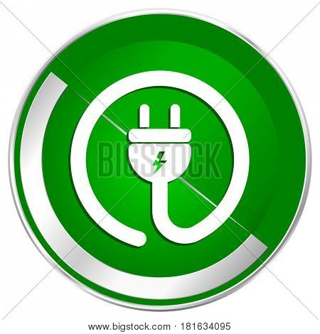 Electric plug silver metallic border green web icon for mobile apps and internet.