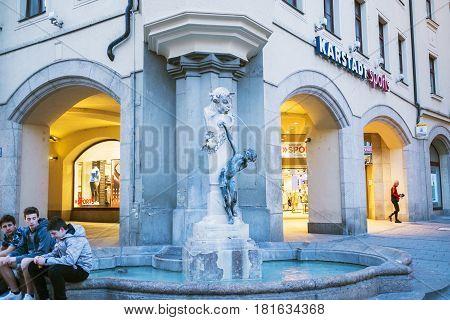 Urious Fountain Called Brunnenbuberl In Neuhauser Str