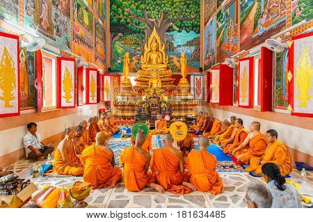Chumphon Thailand - July 10 2016 : Thai monk ritual for change man to monk in ordination ceremony in buddhist in Thailand