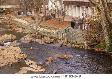 Aerial view of the Chattahoochee river embankment and part of hotel on the shore Helen USA