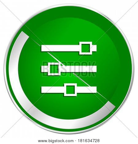 Slider silver metallic border green web icon for mobile apps and internet.