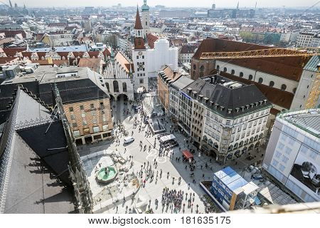 Aerial Views Of Munich From The Clock Tower Of The Town Hall In The Marienplatze