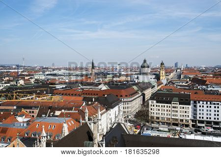 Munich Germany. March 29 2017.- aerial views of Munich from the clock tower of the Town Hall in the Marienplatze