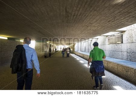 Munich Bavaria Germany.- March 28 2017. People passing through the Altstadtring-Tunnel between the Hofgarten and the Englischer Garten