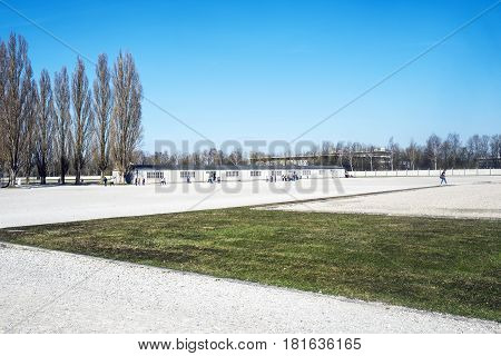 Dachau Bavaria Germany.- March 28 2017. Dachau camp the first concentration camp in Germany during World War II historic buildings and outdoor field in camp