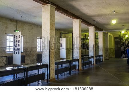 Dachau Bavaria Germany.- March 28 2017. Places where prisoners were received at the Dachau concentration camp