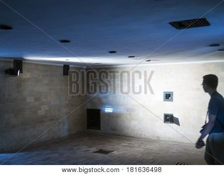 Gas Chamber Of Dachau Concentration Camp. Here The Prisoners Were Murdered With Prussic Acid (cyclon