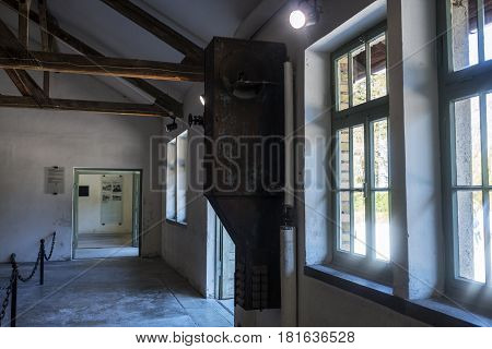 Exterior Windows Of The Crematorium Building And Gas Chamber Of Dachau Concentration Camp.
