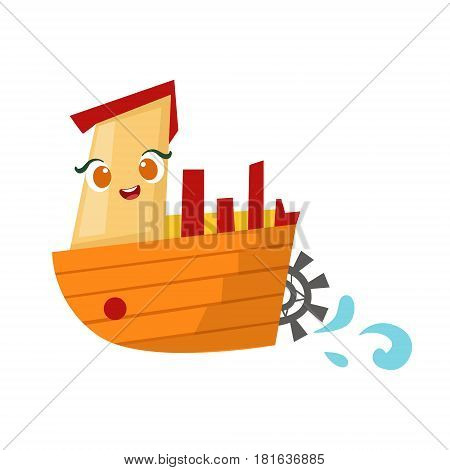 Retro Stemer With Paddle Wheel, Cute Girly Toy Wooden Ship With Face Cartoon Illustration. Funny Isolated Water Transportation Character With Big Eyes And Smile.