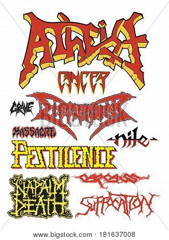set of emblem of death metal bands vector