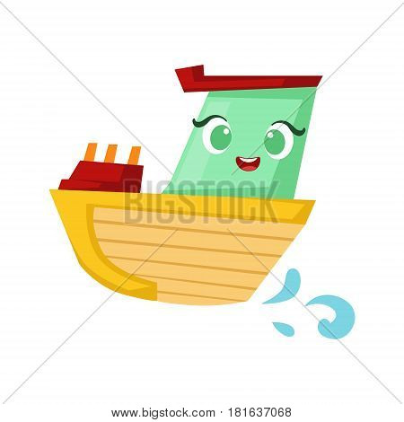 Green And Yellow Little Boat, Cute Girly Toy Wooden Ship With Face Cartoon Illustration. Funny Isolated Water Transportation Character With Big Eyes And Smile.