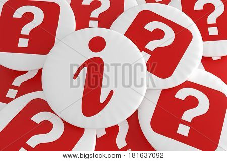 Business FAQ Concept Badges: Pile of Question Buttons With Information Button 3d illustration